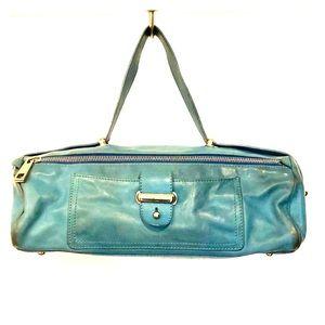 MARC JACOBS Blue Leather Barrel Bag